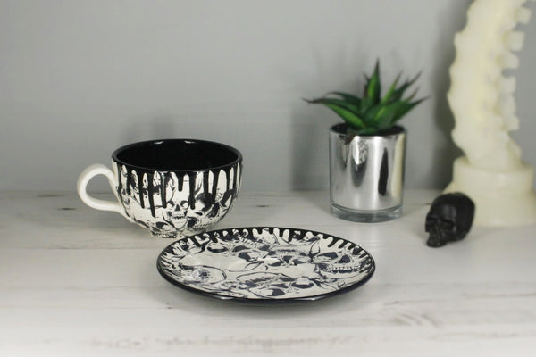 Skull Cappuccino Cup & Saucer Set