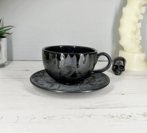 Matte Black Skull Cappuccino Cup & Saucer