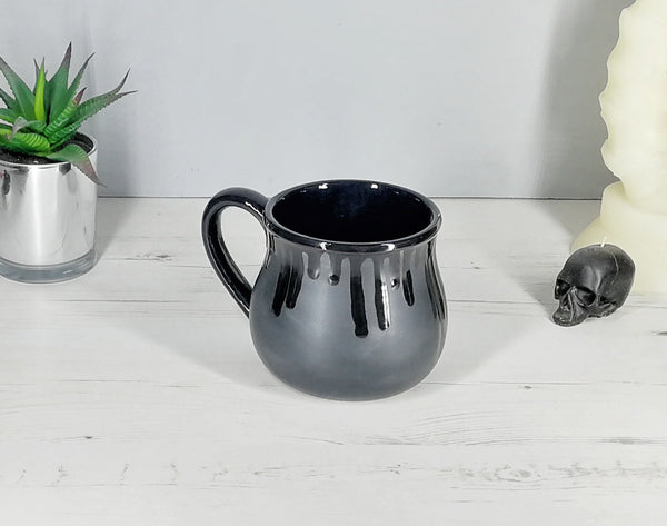 Large Matte Black Skull Coffee Mug