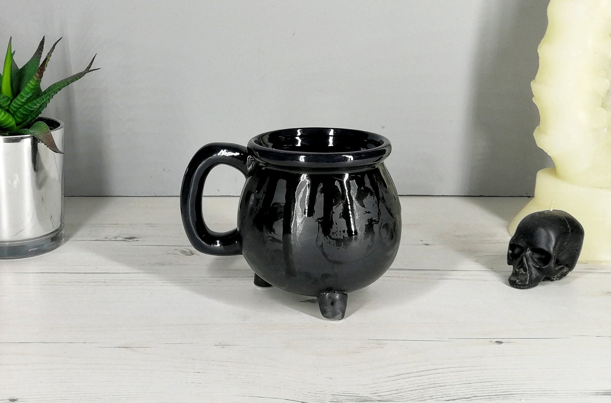 Matte Black Skull Cauldron Mug