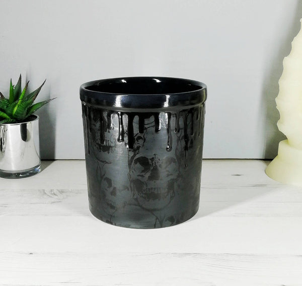 Matte Black Skull Utensil Pot