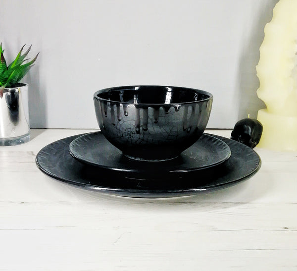 Matte Black Web Dinner Set