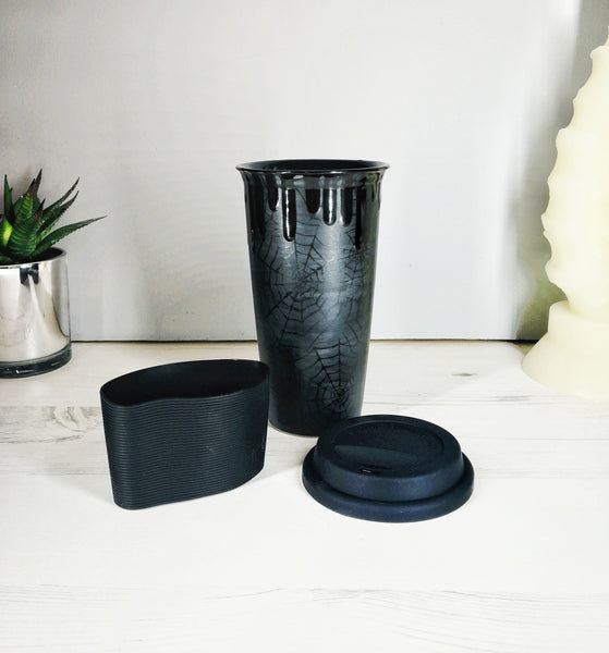 Matte Black Web Travel Mug