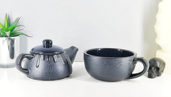 Matte Black Web Tea For One Set