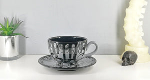 Grey Skull Cappuccino Cup & Saucer