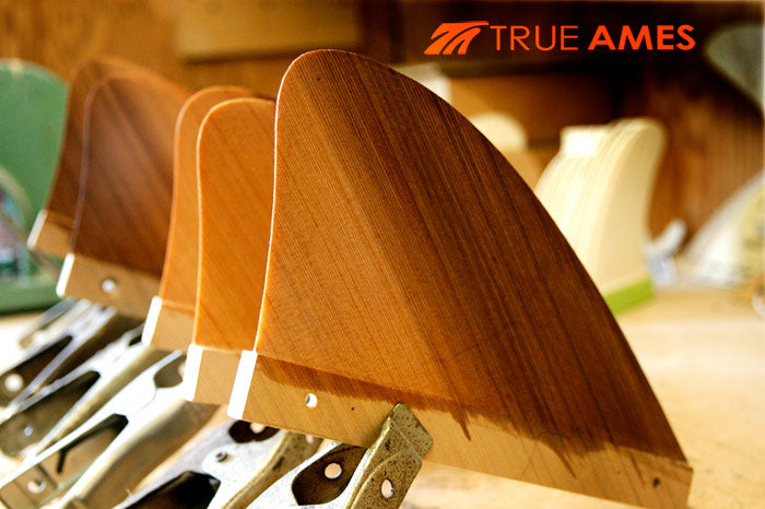 Wooden Surf Fins Machine Foiled True Ames