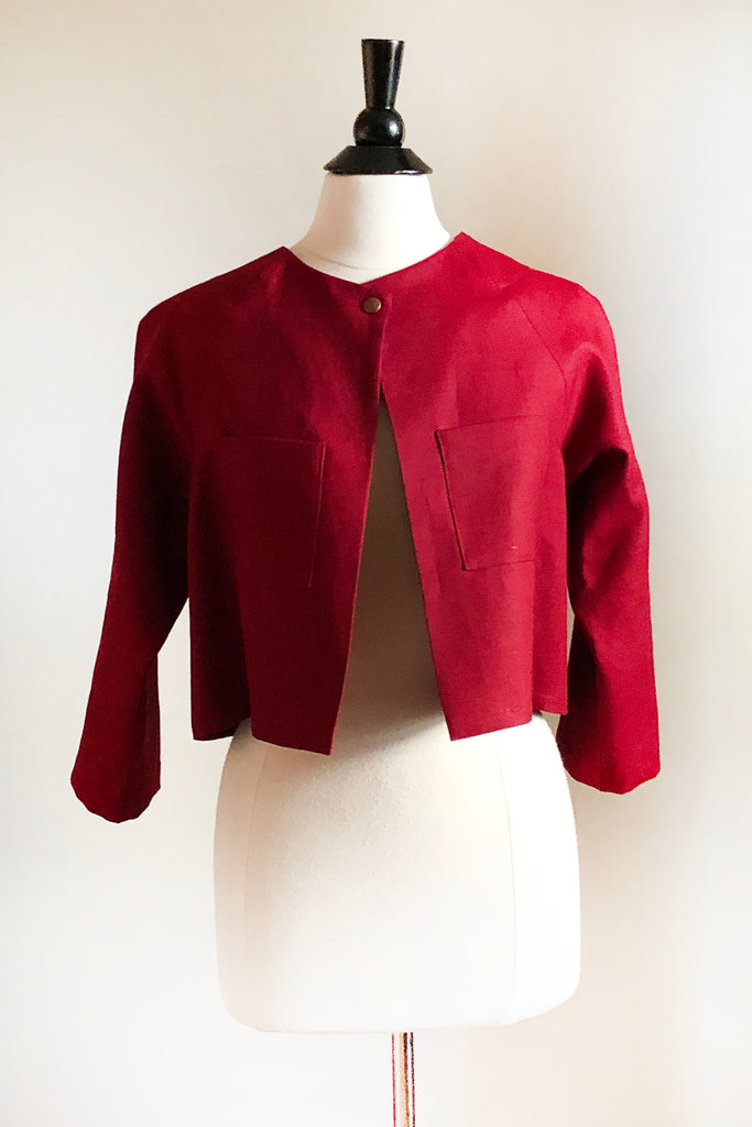 Alice Jacket - Short - Maroon Linen