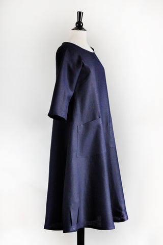 Garden Party Dress - Navy Linen.