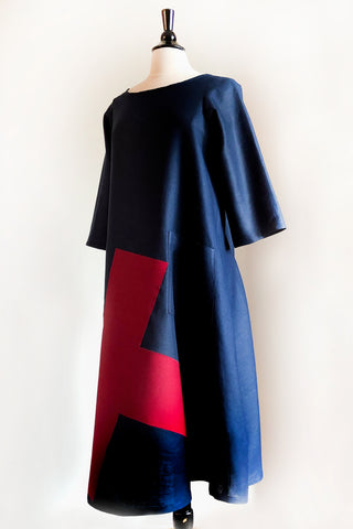 Garden Party Dress - Navy Linen with a Cross.
