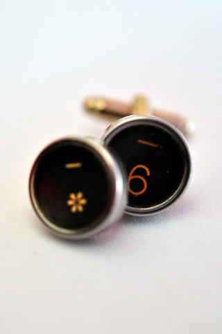 Royal Typewriter Key Cufflinks - A Number and A Star