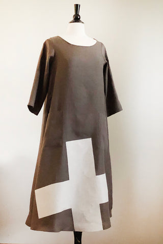 Garden Party Dress - Olive Linen with a Cross.