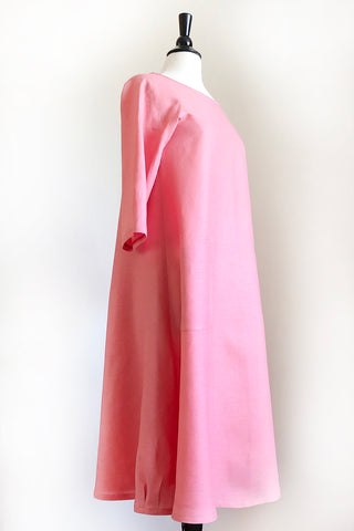 Garden Party Dress - Honeysuckle Pink Linen.