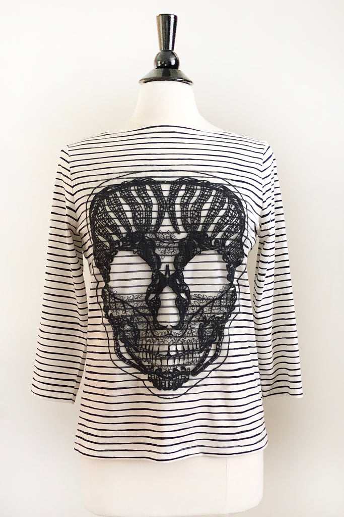 Naomi Top - Skull Nautical Stripe