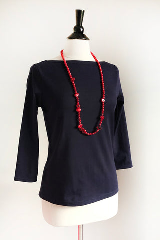 Naomi Top - Organic Navy Cotton
