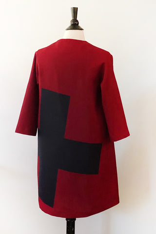Alice Jacket - Marsala with Navy Cross