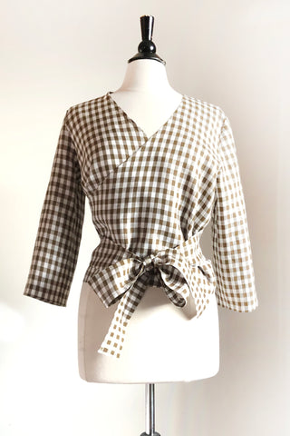 Zoe Wrap Top -  Gingham Linen