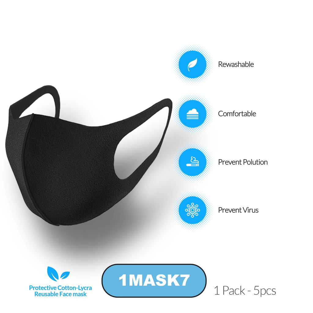 Protective Cotton-Lycra Reusable Face Mask | 1 Pack - 5pcs