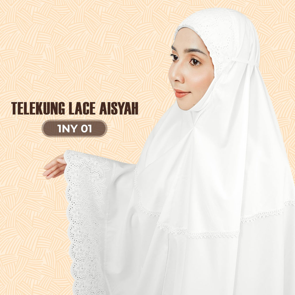 Exclusive SARONY Telekung Lace Aisyah & Humaira Collection - Free Woven Bag