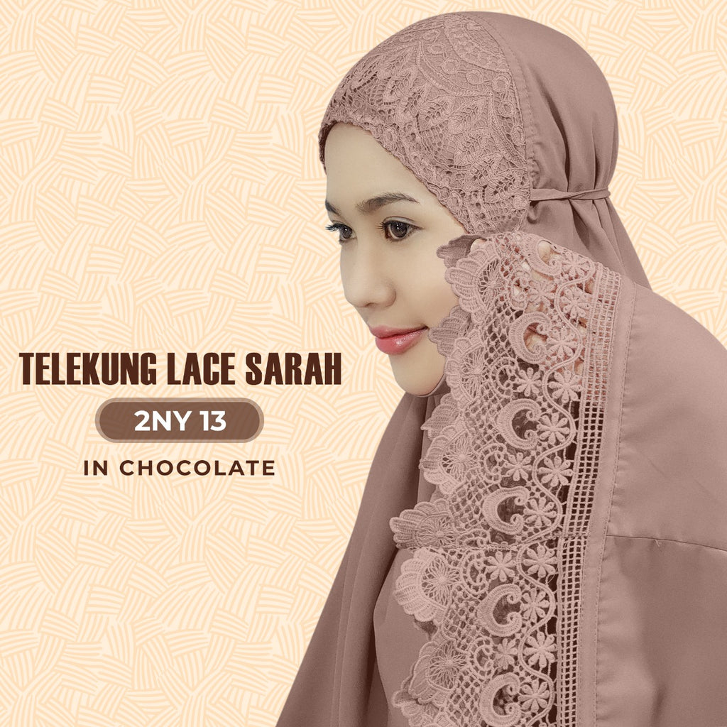 Exclusive SARONY Telekung Lace Sarah Collection - Free Woven Bag