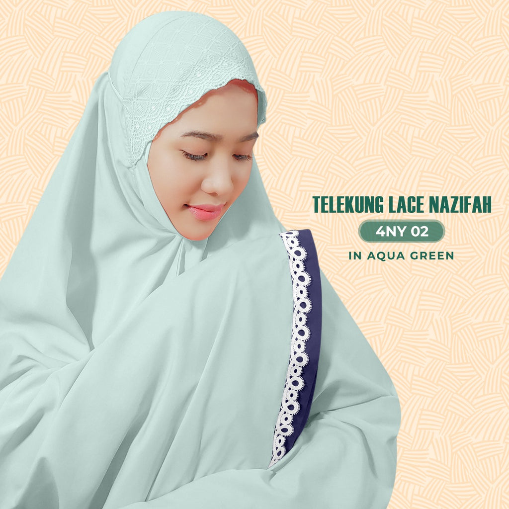 Exclusive SARONY Telekung Lace Nazifah Collection - Free Woven Bag
