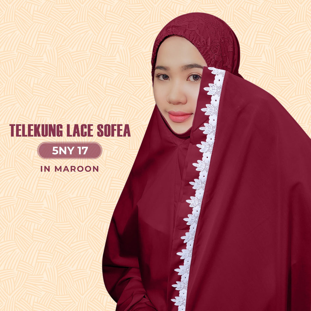 Exclusive SARONY Telekung Lace Sofea Collection - Free Woven Bag