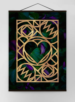 Graphic Heart Gold Canvas