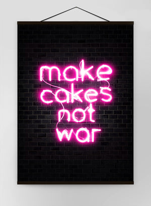 Make Cakes Pink Neon Canvas