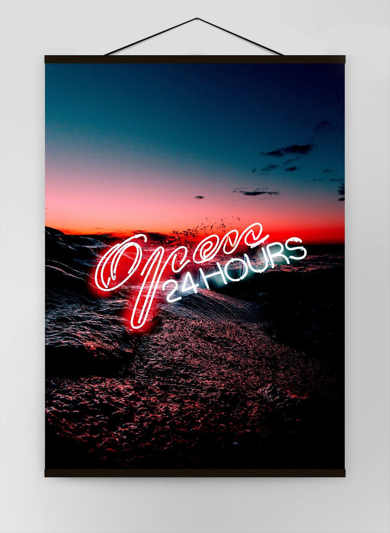 Open 24 Hours Ocean Neon Canvas