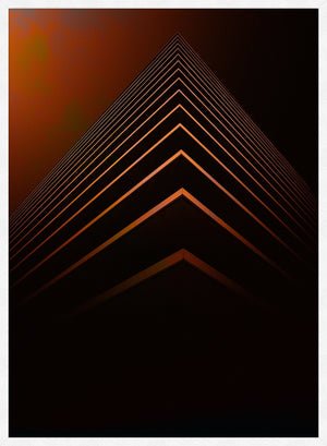 Orange Pyramid Geometric Print