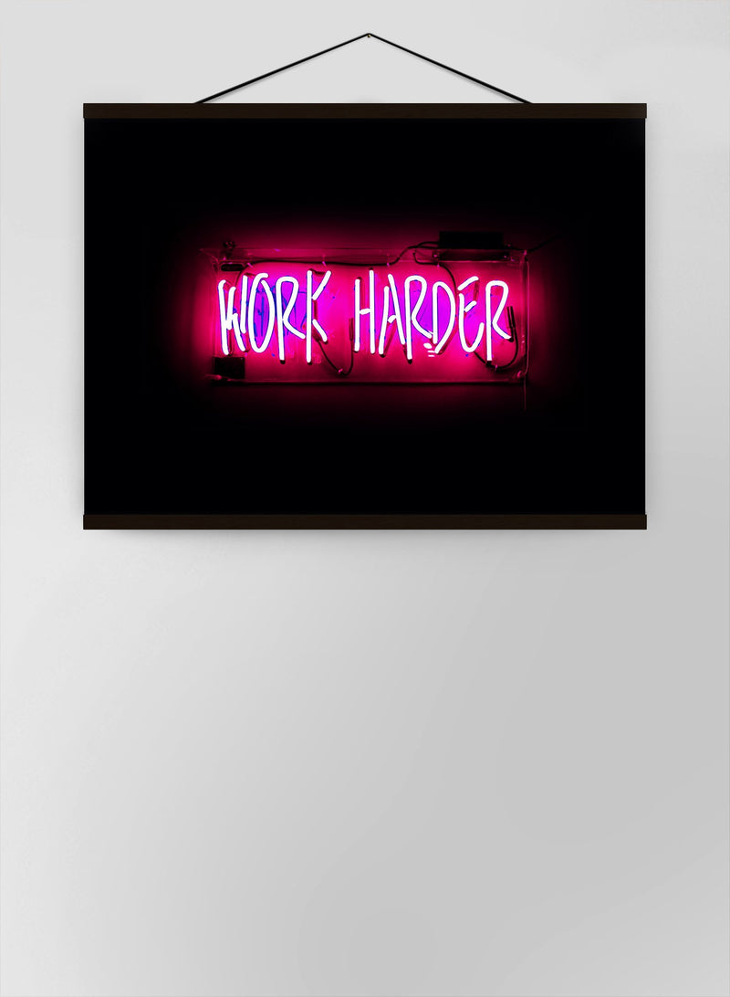 Work Harder Neon Landscape Canvas