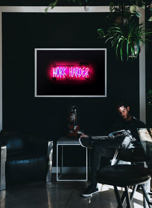 Work Harder Neon Landscape Print