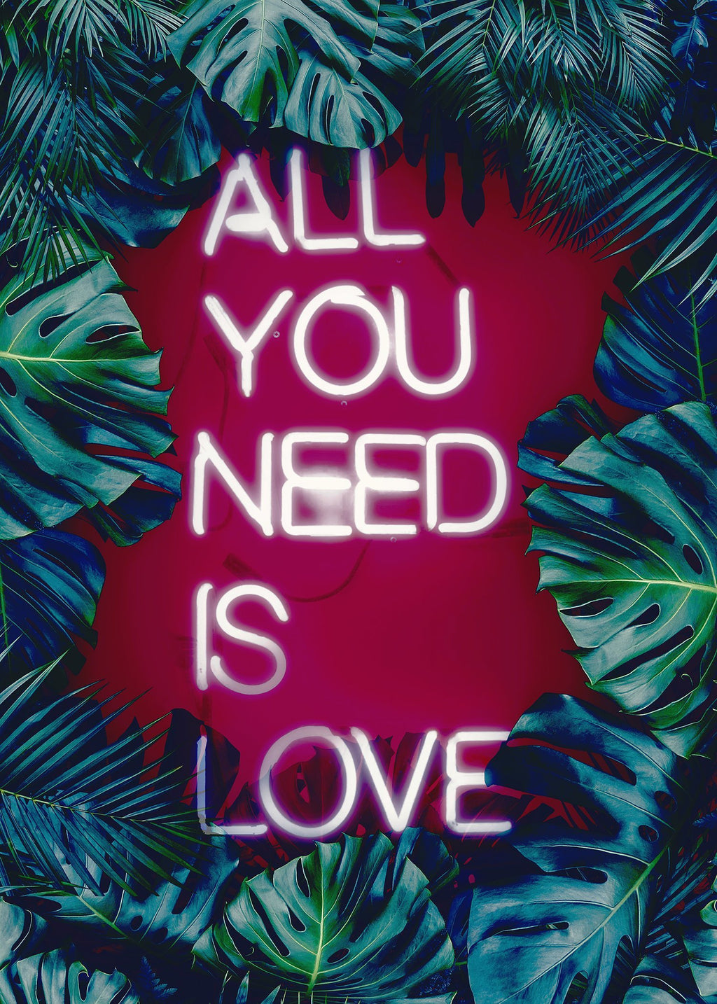 All You Need Is Love Neon Tropical Print
