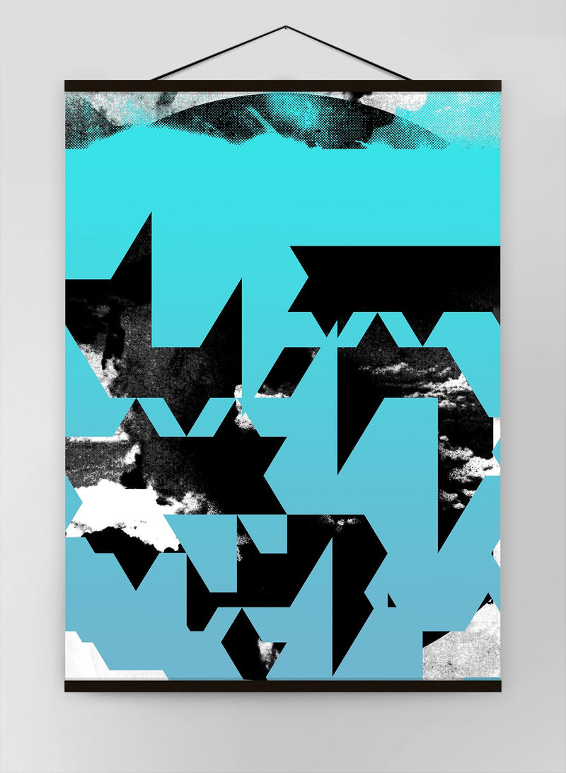 Geometric Abstract Blue Canvas
