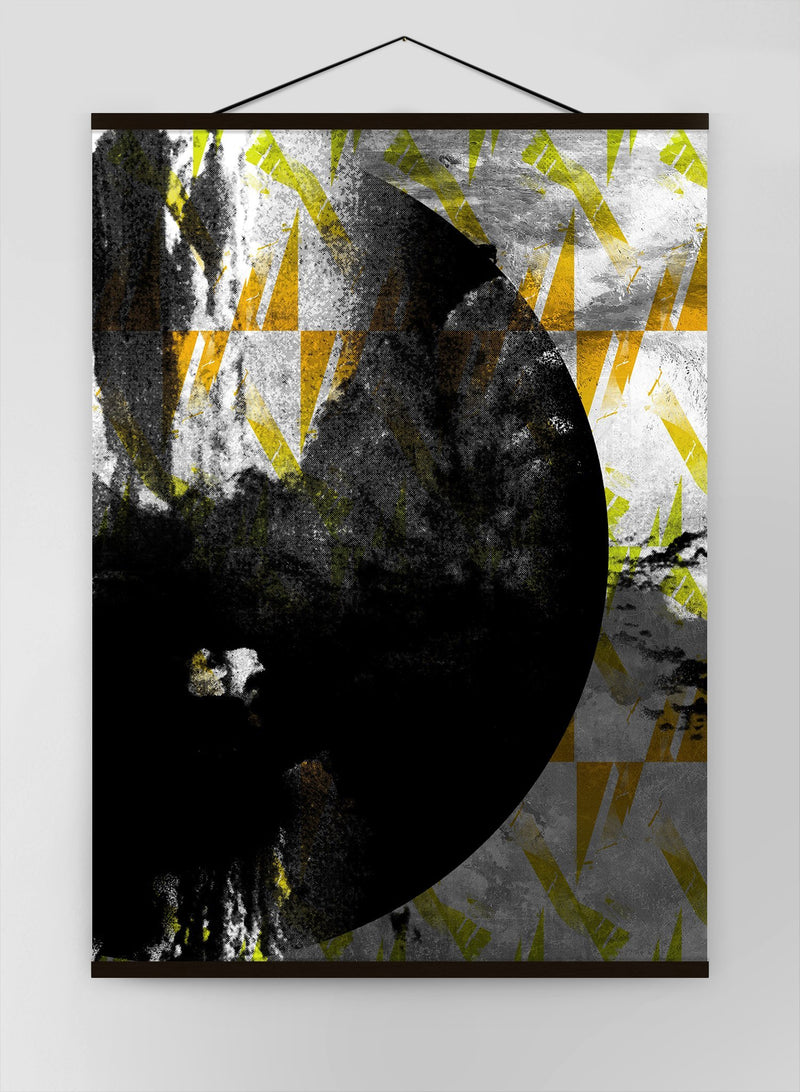 Geometric Moon Yellow Canvas