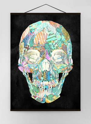 Geometric Pastel Pattern Skull Canvas