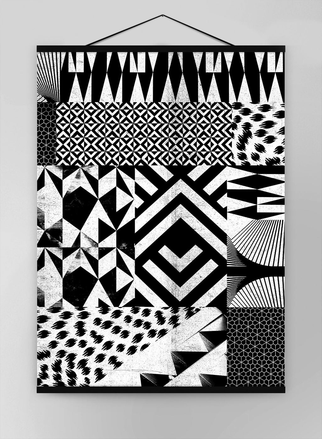 Geometric Segments Black And White Canvas