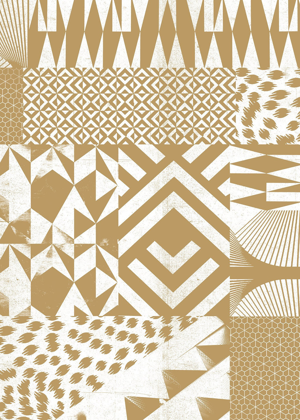Geometric Segments Gold Print