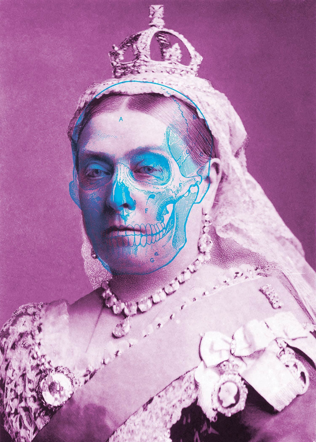 Queen Victoria Skull Colour Print