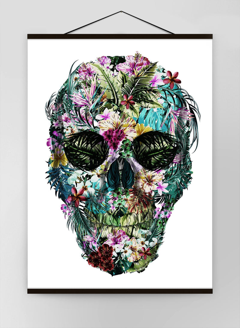 Tropical Skull White Canvas