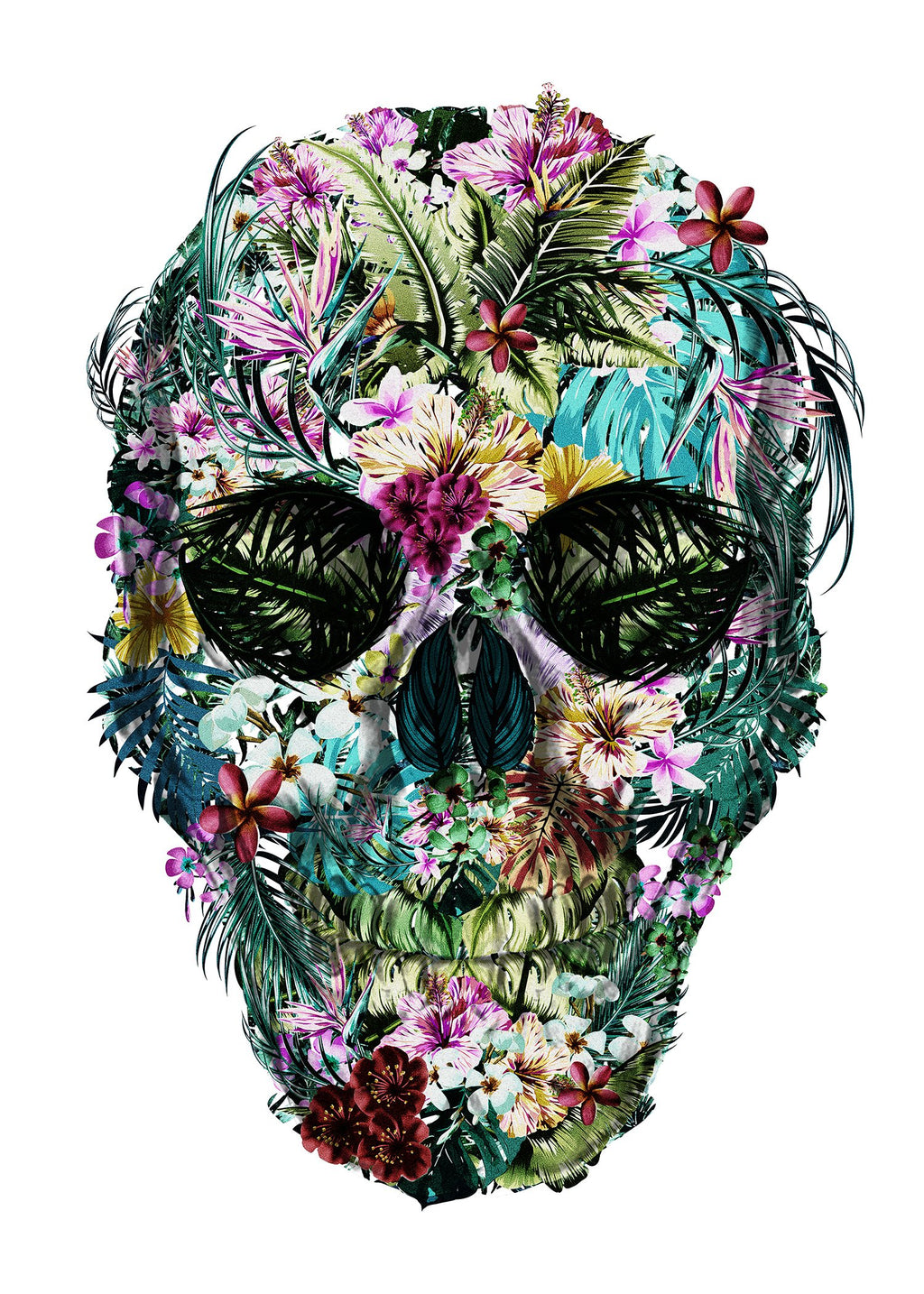 Tropical Skull Black and White Print