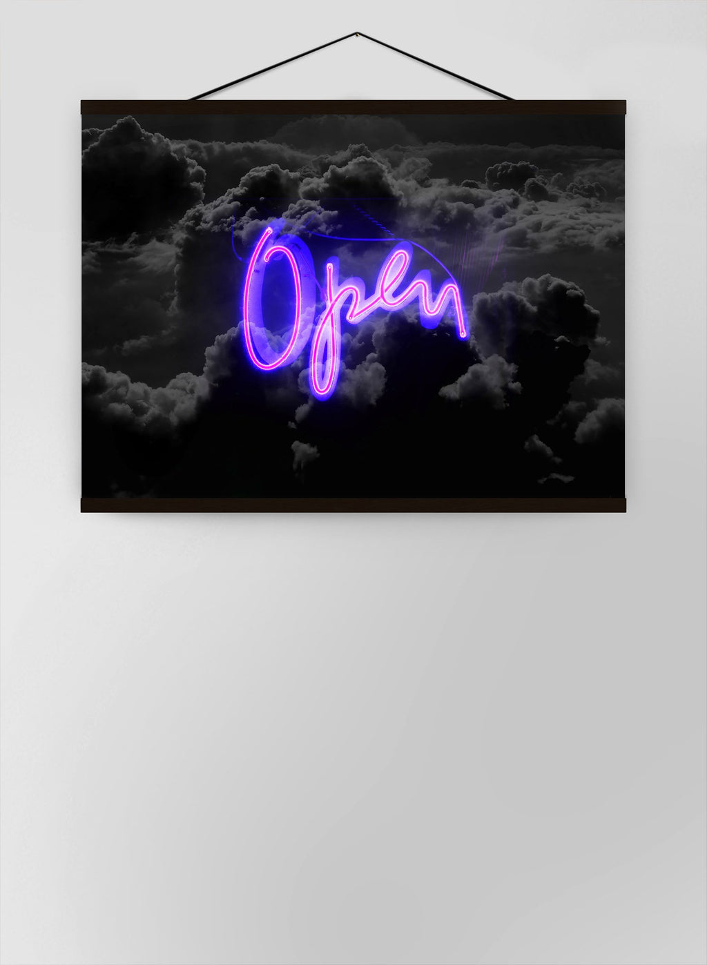 Open Clouds Purple Neon Canvas