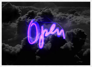Open Clouds Purple Neon Print