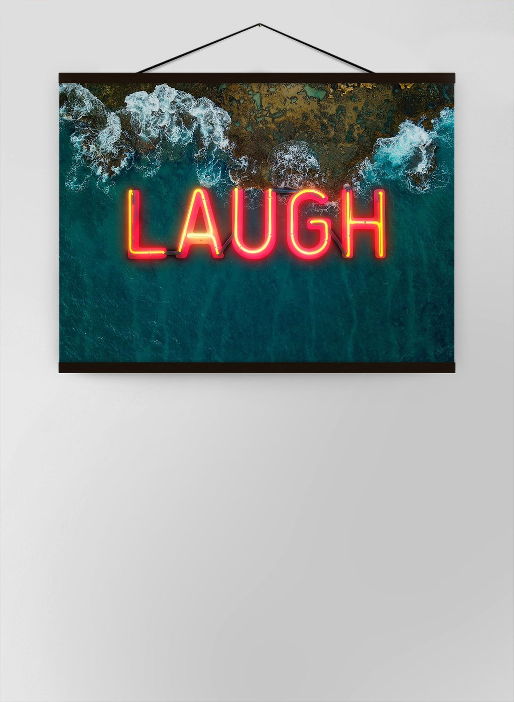 Laugh Neon Ocean Canvas