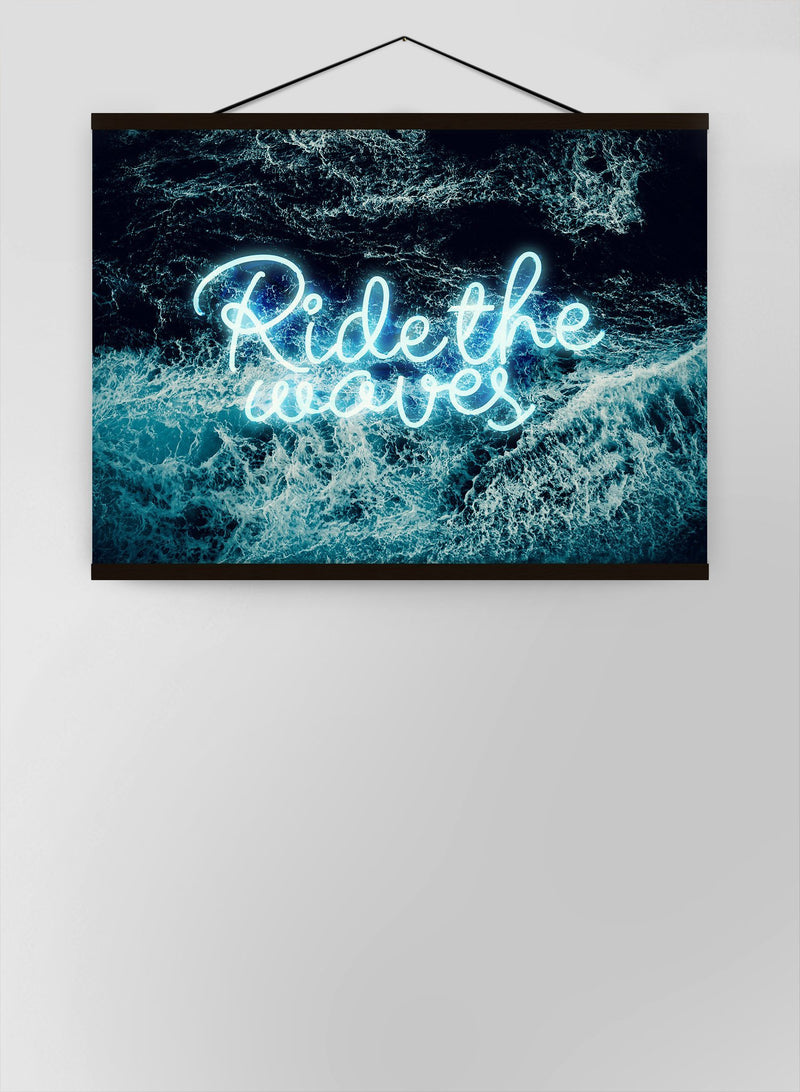 Ride The Waves Surf Neon Canvas