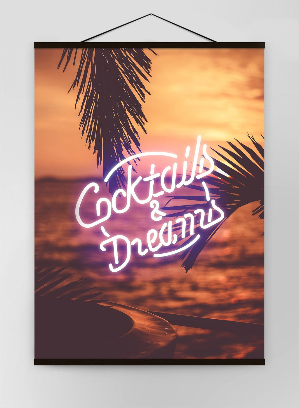 Cocktails And Dreams Palms Neon Canvas
