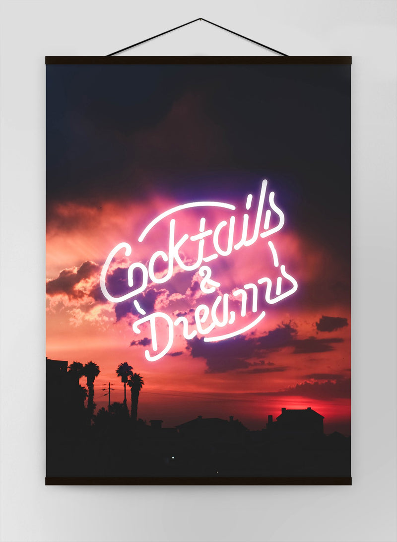 Cocktails And Dreams Sunset Neon Canvas
