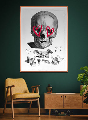 Vintage Skull Drawing Lipstick Eyes Print