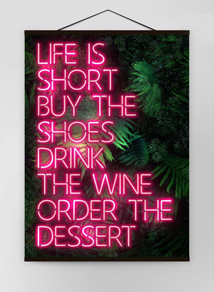 Life Is Short Neon Canvas