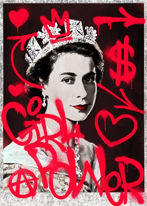 Girl Power Queen Elizabeth Spraypaint Print