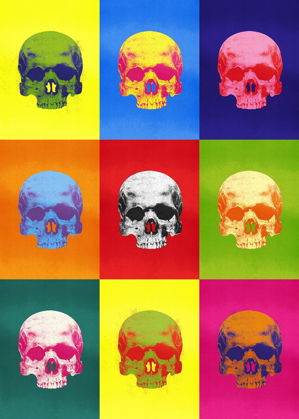 Popart Neon Coloured Skulls Print